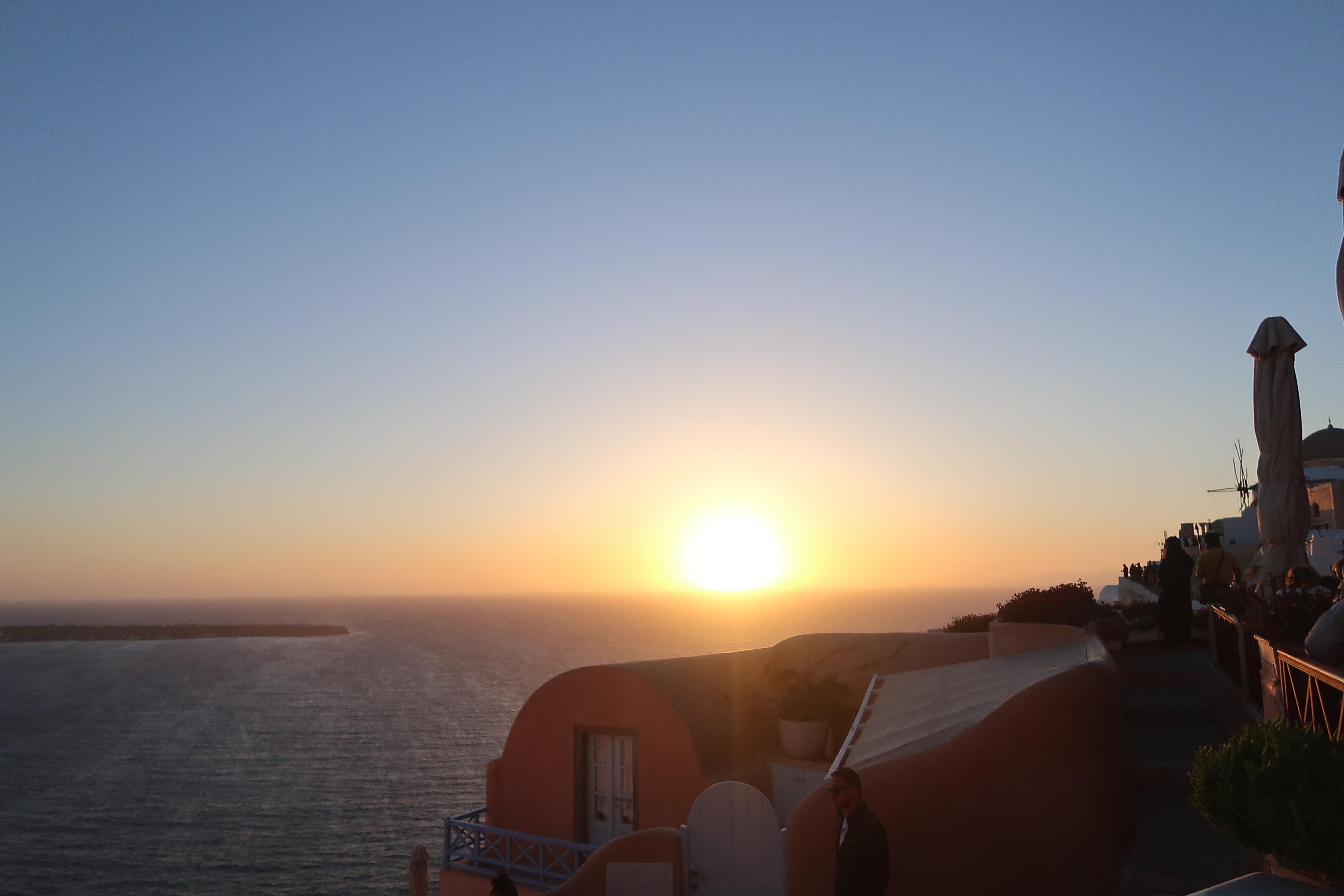santorini sunset view from restaurant