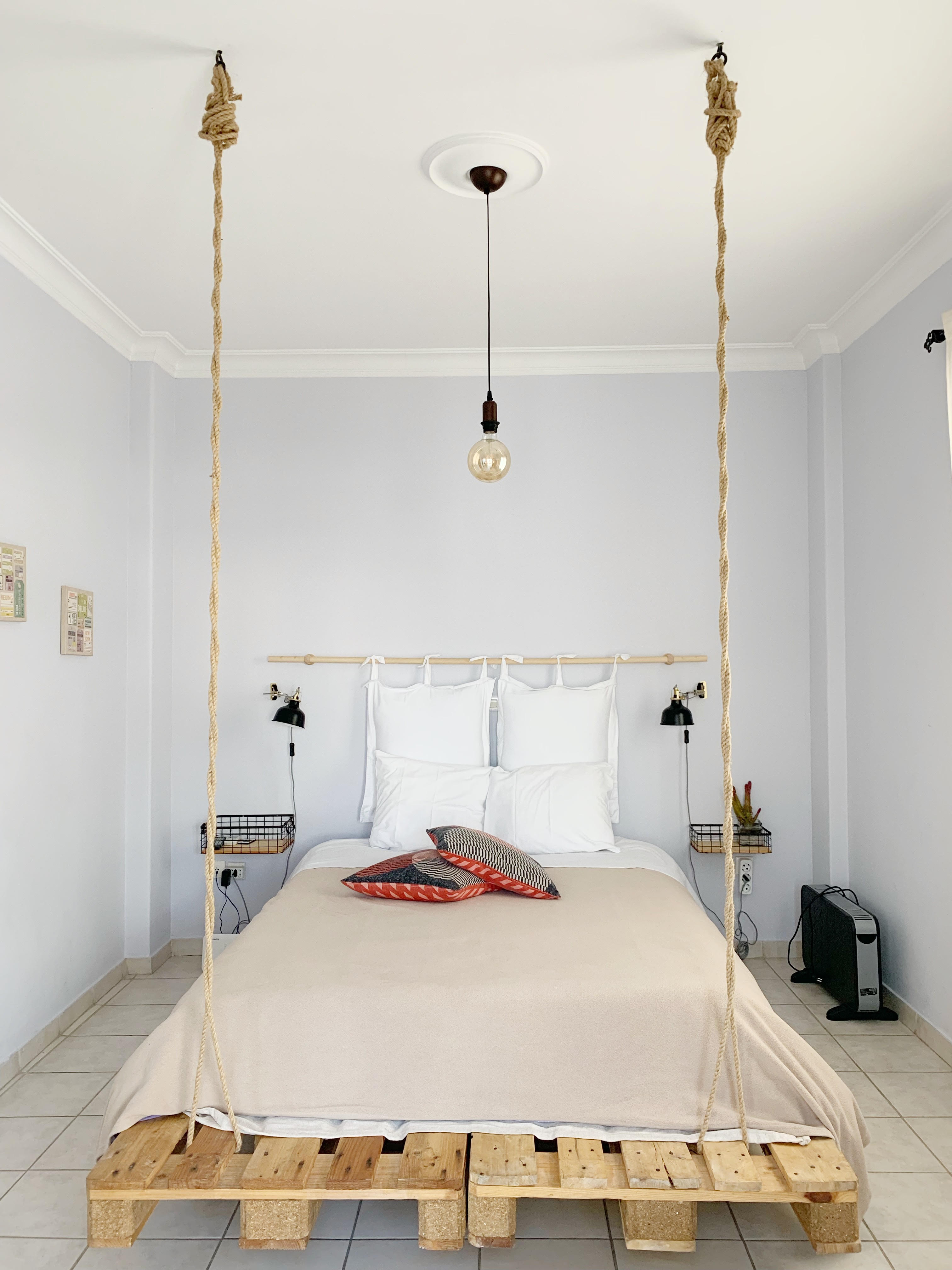 minimalist bedroom of airbnb in athens