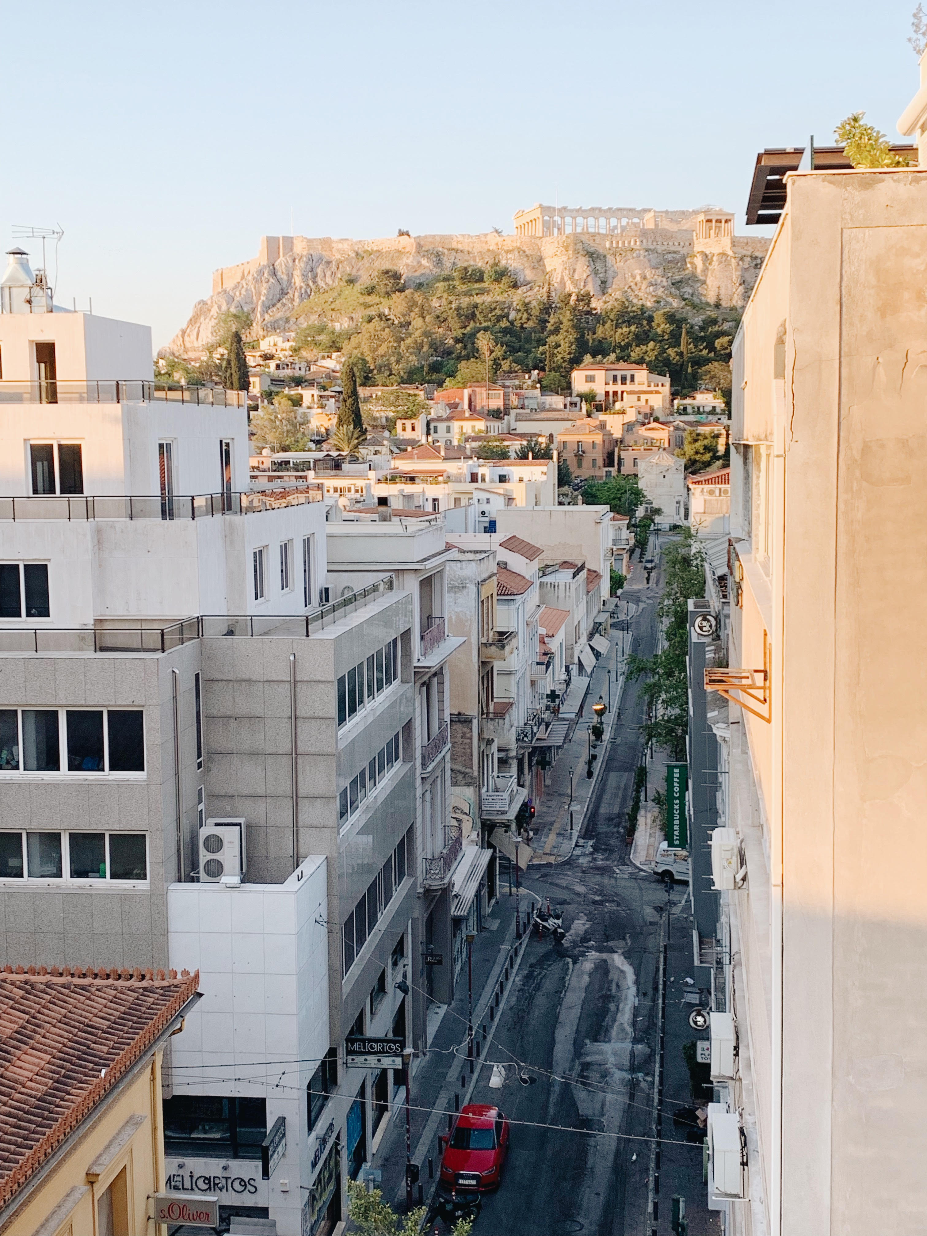 view of parthenon from airbnb in athens